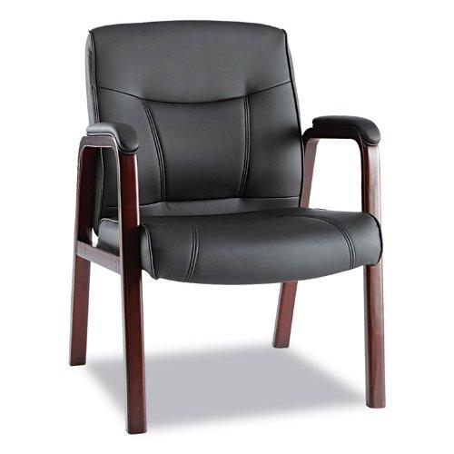 Alera Ma43Als10M Madaris Leather Guest Chair W/Wood Trim, Four Legs, Black/Mahogany