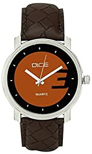"""Dice """"Ruff Buff 0511"""" Formal Round Shaped Wrist Watch for Men. Fitted with Brown Dial anti allergic Leather strap"""