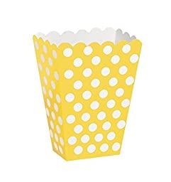 8 Popcorn Treat Polka Dots Spot Style Boxes Favour Party Paper Loot Bags (yellow)
