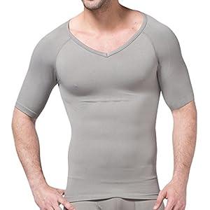 H:oter® Hommes Nylon compression V-Neck T-shirt, Gris - M