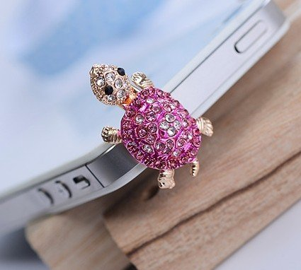 Lovely Bling Crystal Turtle Earphone Antidust Ear Cap Dock Dust Plug For Iphone Ipod, Samsung, Other 3.5Mm Ear Jack