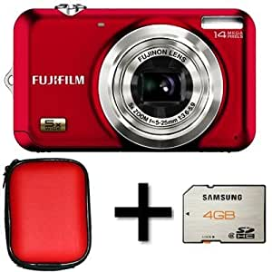 Fujifilm FinePix JX530 Red + 4gb Memory + Case (14MP, 5x Optical Zoom) 2.7 inch LCD