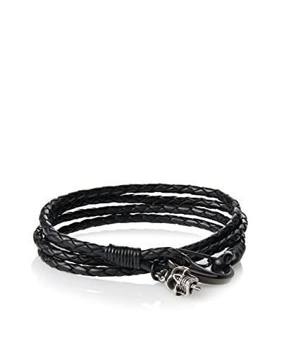 Link UP BR1392BK Woven Black Leather with Hook Closure and Skull