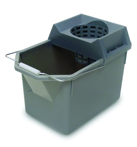 Rubbermaid Commercial Fg619400Stl Hdpe Pail And Mop Strainer Combination, 15-Quart Capacity, Gray