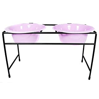 Platinum Pets Platinum Pets 12-Cup Modern Double Diner Stand with Wide Rimmed Bowls, Sweet Lilac