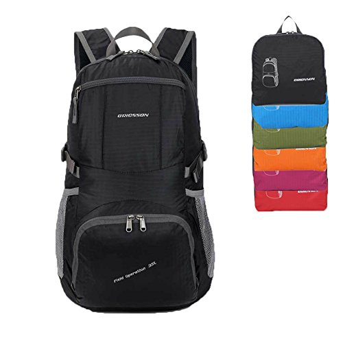 ORICSSON Lightweight Men and Women Handy Waterproof Packing Travel Backpack Black 35L + (Collapsible Cooler Waterproof compare prices)
