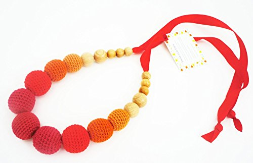 Lily & Ally / Organic Wooden Crochet/ Beaded Teething (Nursing) Necklace Juicy Orange - 1
