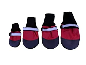 HDP Extreme Water-Repellent Dog Boots Red Set of 4 Size:XLarge
