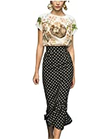 Janecrafts Women's Vintage Polka Dots Ruffle Mermaid Skirt Bodycon Cocktail Party Work to Wear Pencil Tube