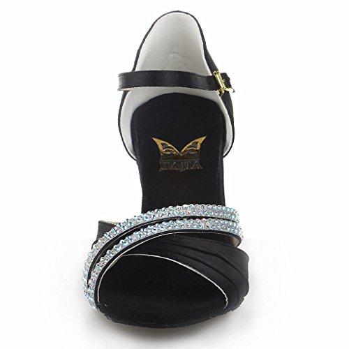 Jia Jia 20524 Damen Sandalen Ausgestelltes Heel Super-Satin mit Strass Latein Tanzschuhe Schwarz , 41