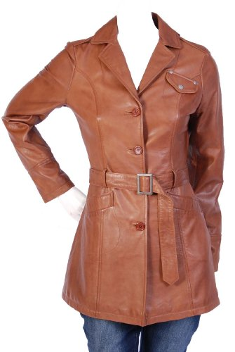 Ladies Fitted Trench Leather Jacket F Maja Tan Womens 3/4 Length Leather Coat (16)