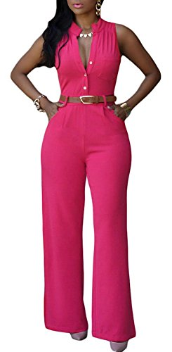 Roswear Women's Sexy Plunge V Neck Belted Wide Leg Jumpsuits Dress Rosy XX-Large