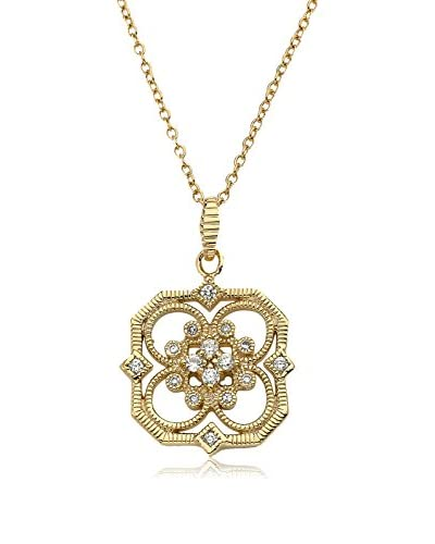 Riccova Retro Cubic Zirconia 14K Gold Plated Open Flower Pendant On Chain Necklace