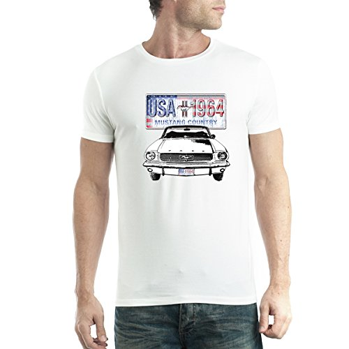 Ford Mustang Country Uomo T-Shirt XS-5XL Nuovo Bianca 5XL