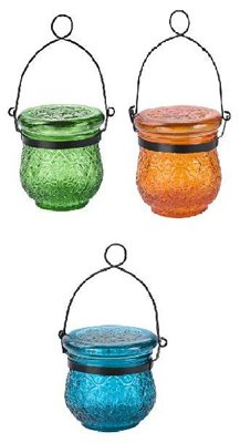Solar Glass Jar Assorted Colors, Pack of 12