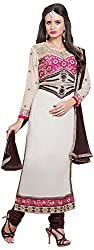 Ethnic Chic Women's Cotton Unstitched Dress Material (Rasili-905, Off White)