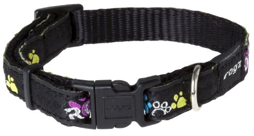 Rogz Fancy Dress Small 3/8-Inch Jellybean Dog Collar, Paint Paw Design