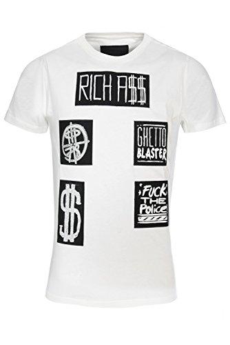 """Philipp Plein """"Richass White"""" T-Shirt Shirt Designer Shirt Bedruckt Für Herren und Männer Tailiert Slim Fit Slim Fit Weiss Rundhals mit Print und Applikationen (L) thumbnail"""