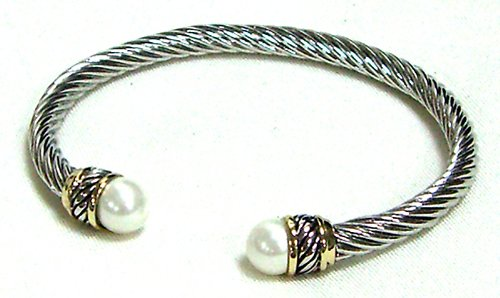 Designer Inspired X-Large Cable Bracelet-Pearl