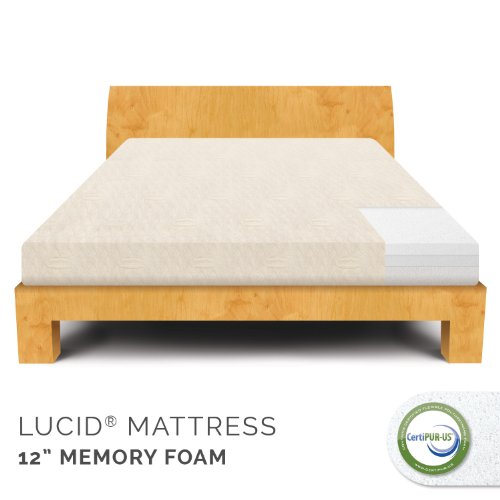 Lucid 12 Inch Plush Memory Foam Mattress 100 Certipur Us Certified Foam 25 Year Warranty
