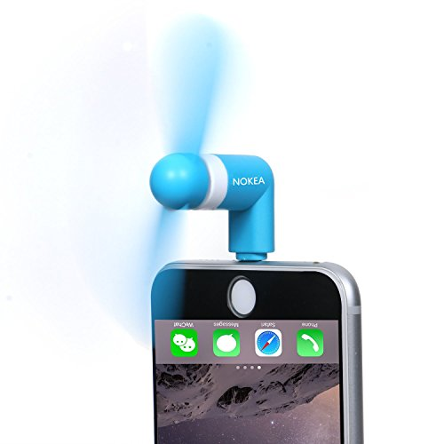 NOKEA Mini Portable Dock Cool Cooler Rotating Fan for iPad Tablet iPod Touch iPhone 6 6S iPhone 6 Plus 6S Plus iPhone 5/5S/SE, 4S 8 pin lightning (Blue) (Cool Animal Iphone 5 Cases compare prices)