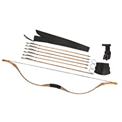 Combination Set Traditional Archery Brown Pigskin Longbow Recurve Bow 6 Bamboo Arrows... by Longbowmaker