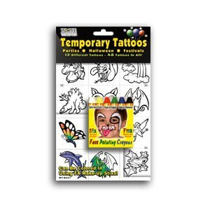 6 Bright Face Painting Crayons w/ 48 Temporary Tattoos