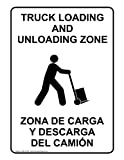 ComplianceSigns Aluminum Truck Loading / Unloading Sign, 10 x 7 in. with English + Spanish Text, White