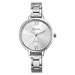 Geneva Platinum Analog Silver Dial Womens Watch- GP-135