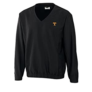 NCAA Mens Tennessee Volunteers Black Windtec Astute V-Neck Windshirt by Cutter & Buck