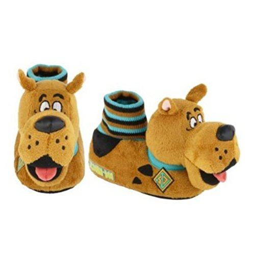 Toddler Boys Scooby Doo Slippers Plush Brown Sock Top Dog House Shoes front-767560