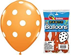 Pioneer Balloon Company Round Big Polka Dots, 11, Orange