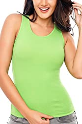 Coucou by Zivame Women's Cotton Top (T001-Lime green_Small)