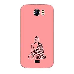 Skin4gadgets Lord Gautum Buddha-Line Sktech on English Pastel Color-Peach Phone Skin for CANVAS 2 PLUS (A110Q)