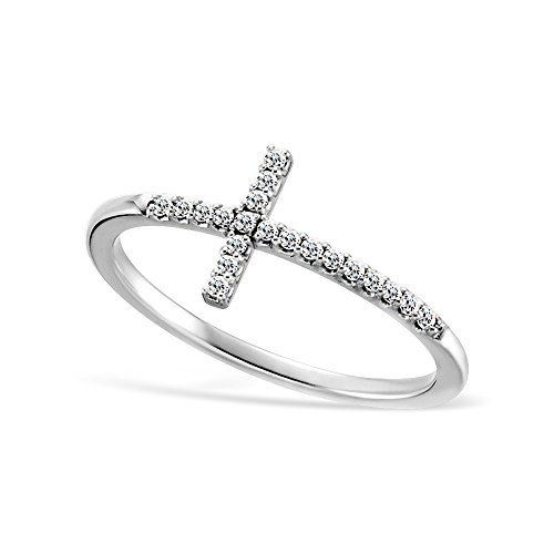 Sideways Cross Cz Sterling Silver .925 Ring (10)