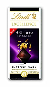 Lindt Chocolate Excellence 70% Cocoa Nut Crunch Chocolate Bar, 3.5-Ounce (Pack of 12)