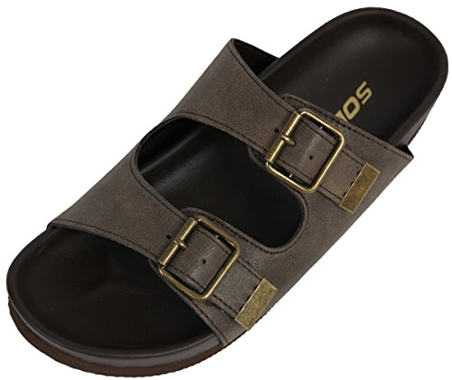 Soda Women'S Jagger Faux Leather Double Strap Buckle Flat Sandals, Taupe, 7 M Us