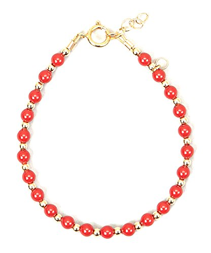 Crystal Dream Luxury Coral Swarovski Simulated Pearls with 14KT Gold-filled beads Stylish Baby Girl Bracelet Gift (BCR_S)