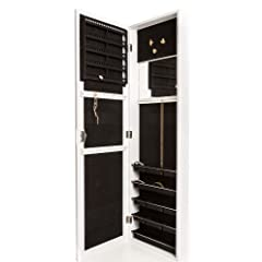Over The Door Jewelry Armoire with Mirror and Cabinet with Lock