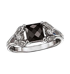 Avon Sterling Silver Genuine Black Sapphire Ring Size 6