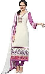 Sinina Women's Crepe Semi Stitched Dress Material (FCSapphire6396_White_Free Size)