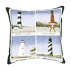 "Outer Banks Lighthouses Decorative Accent Throw Pillow 17"" x 17"""