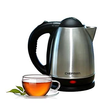 Attractively housed in brushed stainless steel, this Chefman electric hot-water kettle makes a striking presence on any kitchen counter or buffet. Use it to quickly bring up to 1-1/2 liters of water to a rolling boil for making anything from tea, ins...