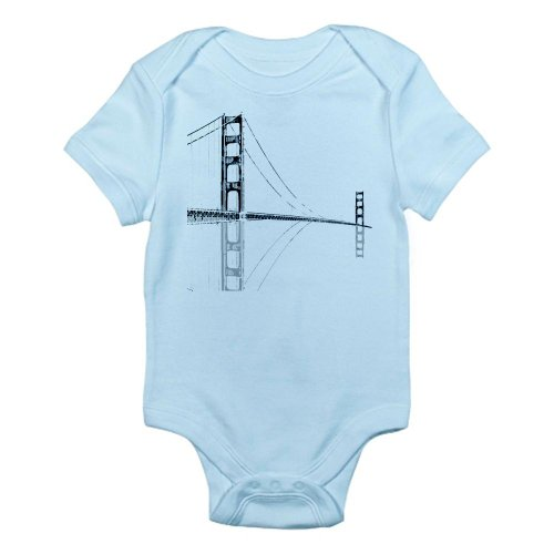Cafepress Golden Gate Faded Infant Bodysuit - 3-6M Sky Blue front-490132