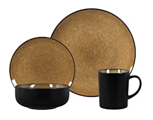 Gibson Novabella 16-Piece Reactive Stoneware Dinnerware Set, Taupe by Gibson