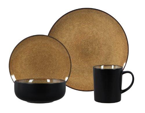 Gibson Novabella 16-Piece Reactive Stoneware Dinnerware Set, Taupe