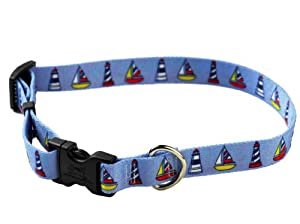 YellowDog Design Sailboats and Lighthouses Adjustable Collar, Medium, 3/4-inch