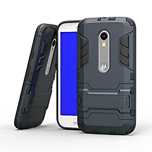 Royal Rusi - Designed Back Case Stand , Aux cable, USB Data Cable For Motorola Moto G3 G 3rd Generation - Navy Black