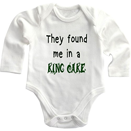 They Found Me In A King Cake Infant Toddler Long Sleeve Baby Bodysuit Creeper Newborn front-869047