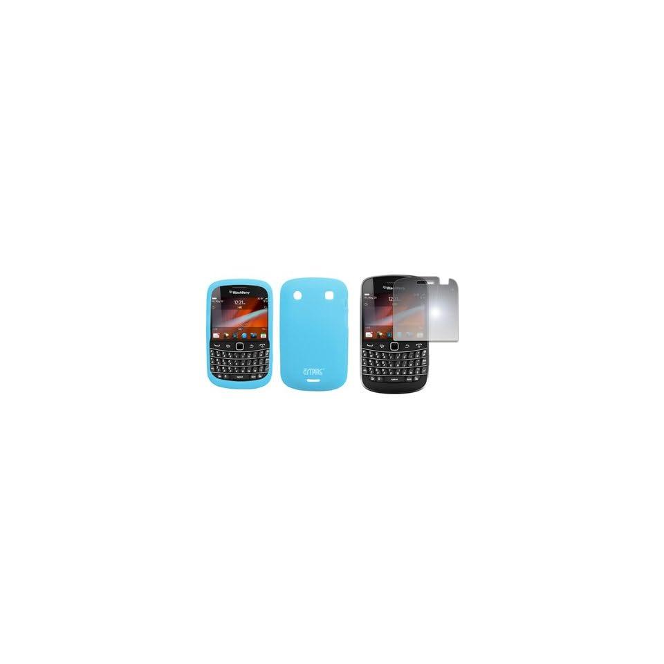 EMPIRE Light Blue Silicone Skin Case Cover + Mirror Screen Protector for T Mobile BlackBerry Bold 9900